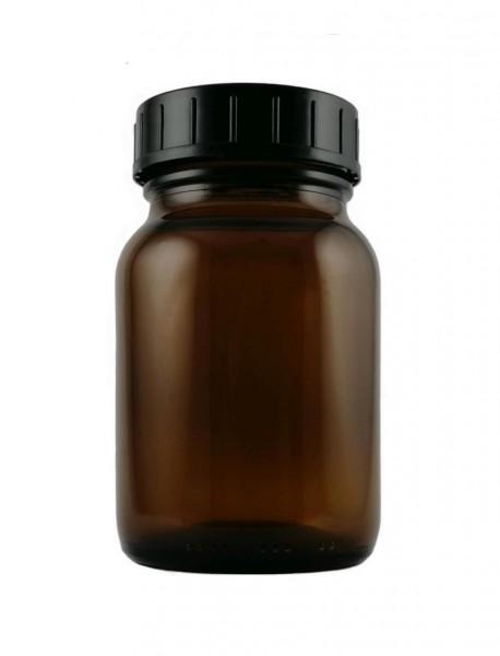 Weithalsglas (Nachfüllbehälter für Kapseln, Tabletten, Pulver etc.). Hochwertiges Braunglas, 250 ml.