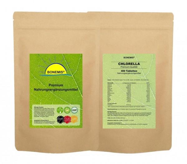 Bonemis® Chlorella (aus Anbau mit hohem Gehalt an Vitamin B12). Vorrats-/Nachfüllpack, 400 Tabletten