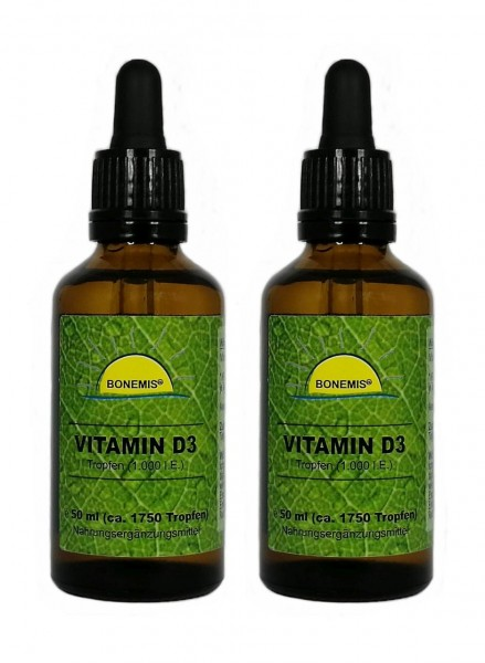 Sparpack Bonemis® Vitamin D3 Tropfen, 1.000 IE, 2x 50 ml, mit Pipette