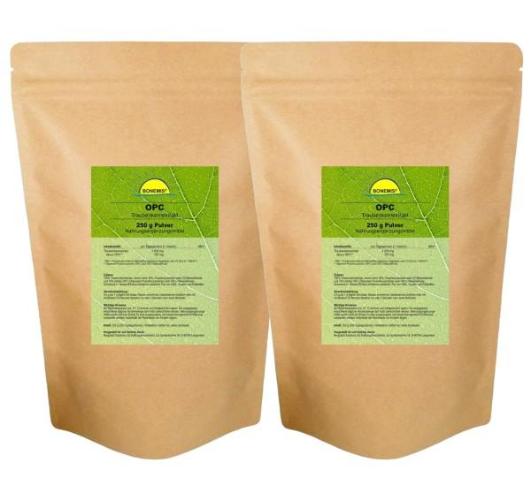 Sparpack Bonemis® Premium OPC Pulver, 95% (63% nach HPLC), 2 Beutel zu je 250 g