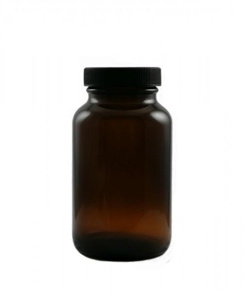 Weithalsglas, 150 ml, (Nachfüllbehälter für Kapseln, Tabletten, Pulver etc.). Hochwertiges Braunglas
