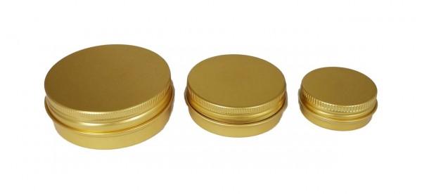 Goldene Aluminiumdosen (3er-Set) für Naturkosmetik, Gels, Cremes (auch DMSO-haltige) oder Pillen