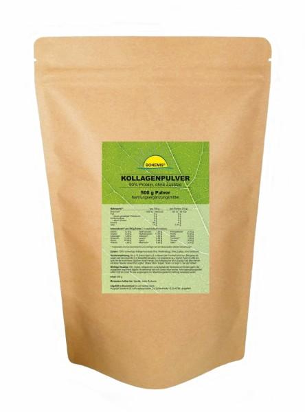 Bonemis® Kollagenpulver (90% Eiweiß, 18 Aminosäuren, Premiumqualität vom Rind), 500 g im Beutel