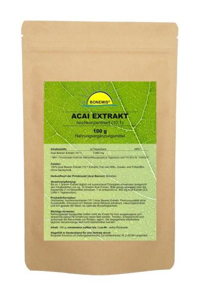 Bonemis® Acai Extrakt (10:1 hochkonzentriert), ohne Zusätze, 100 g veganes Pulver im Beutel