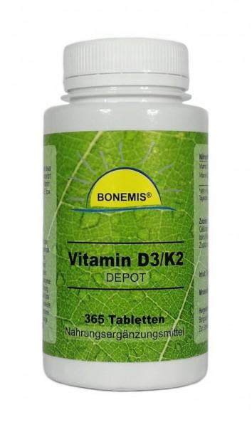 Bonemis® Vitamin D3/K2 Depot, 365 Tabletten (je 10.000 IE Vitamin D3 und 200 µg Vitamin K2)