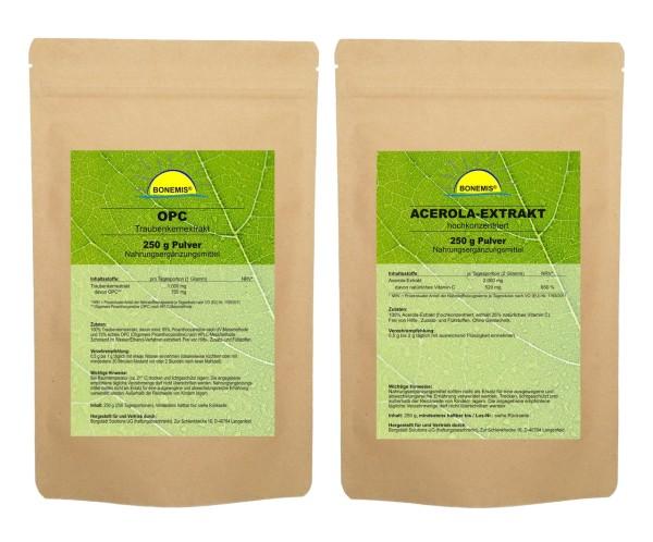 Sparpack Bonemis® Premium OPC Pulver und Acerola-Extrakt. 2 Beutel zu je 250 g