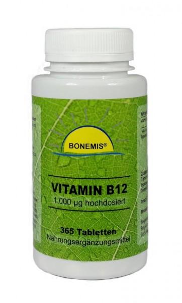 Vitamin B12 (hochdosiert, natürlich, bioaktiv, vegan), 365 Tabletten à 1000 mcg