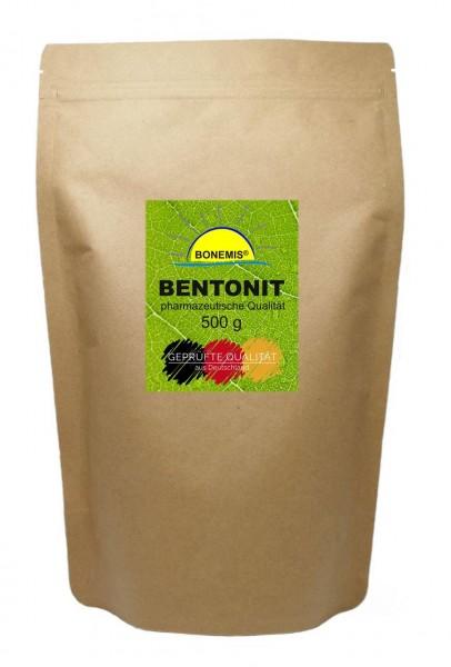 Bonemis® Bentonit in pharmazeutischer Qualität (Ph. Eur.). 500 g ultrafeines Pulver im Beutel.