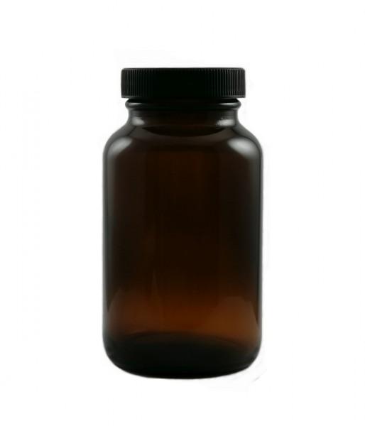 Weithalsglas, 200 ml, (Nachfüllbehälter für Kapseln, Tabletten, Pulver etc.). Hochwertiges Braunglas