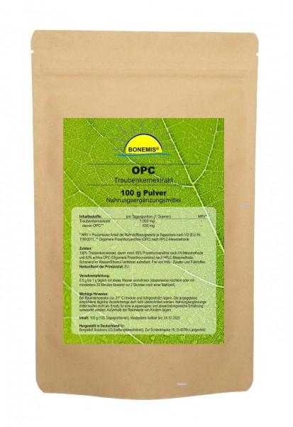 Bonemis® Premium OPC Traubenkernextrakt, 95% (63% nach HPLC), 100 g im Beutel