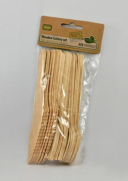 Besteckset aus Holz, 24-teilig