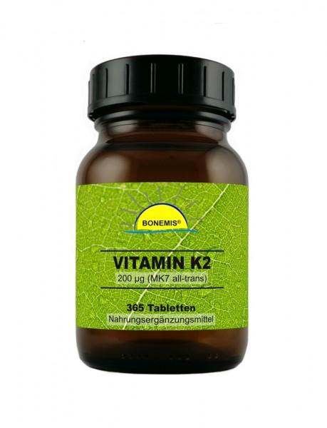 Bonemis® Vitamin K2 (MK7 all-trans), 365 vegane Tabletten à 200 mcg, ohne unerwünschte Zusätze