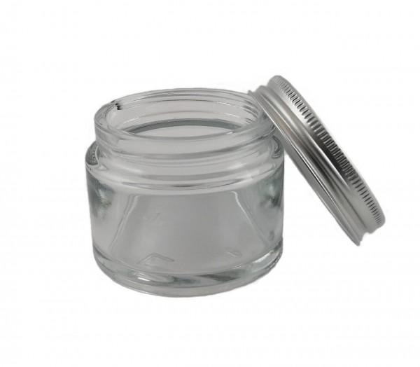 Glastiegel 50 ml, klar, mit Aluminium-Schraubverschluß (für DMSO-Cremes geeignet) und EPE Einlage