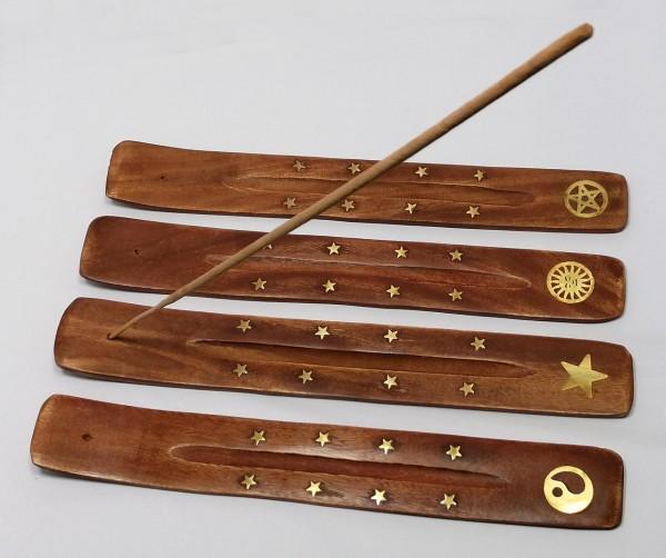 Räucherstäbchenhalter aus Mangoholz, handgefertigt, mit Messingverzierung
