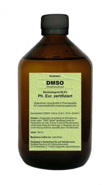 Bonemis® DMSO 99,9%, Ph. Eur. zertifiziert, Pharmaqualität, geruchlos, 1000 ml in Glasflasche