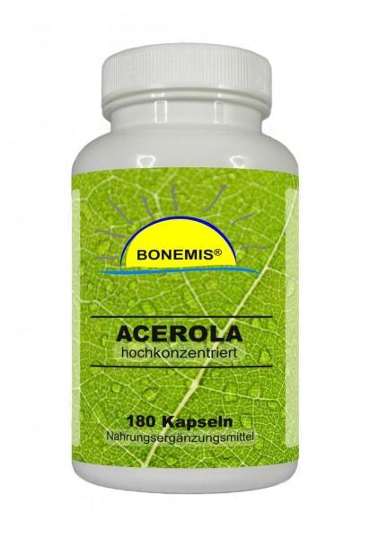 Bonemis® Acerola-Extrakt, 180 Kapseln à 500 mg (hochdosiert, 26% natürliches Vitamin C)