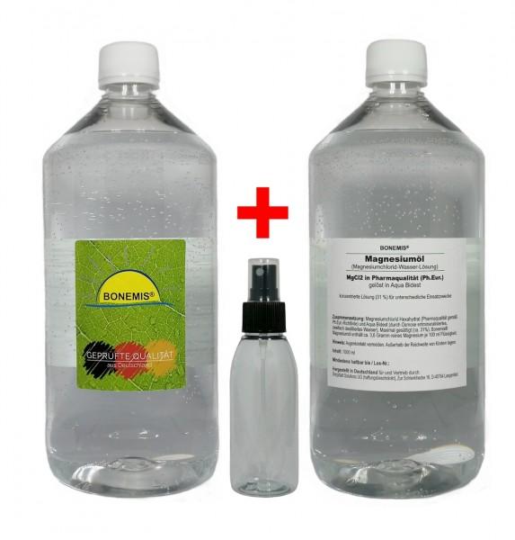 Sparpack Bonemis® Magnesiumöl. 2 Flaschen zu je 1000 ml plus Sprühfläschchen