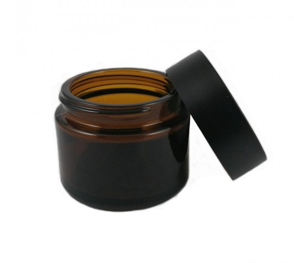 Braunglastiegel 50 ml, mit schwarzem PP-Schraubverschluss und PE-Schaumeinlage