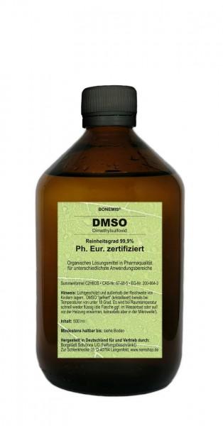 Bonemis® DMSO 99,9%, Ph. Eur. zertifiziert, Pharmaqualität, geruchlos, 500 ml in Glasflasche