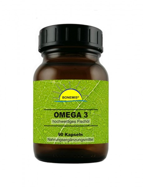 Bonemis® Omega 3, 90 Kapseln hochwertiges Fischöl à 1000 mg im Glas